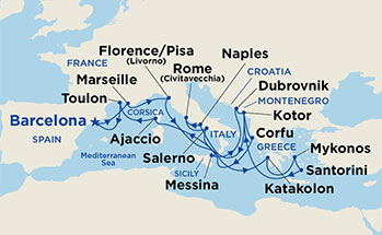 21 Night Grand Mediterranean Cruise onboard Crown Princess