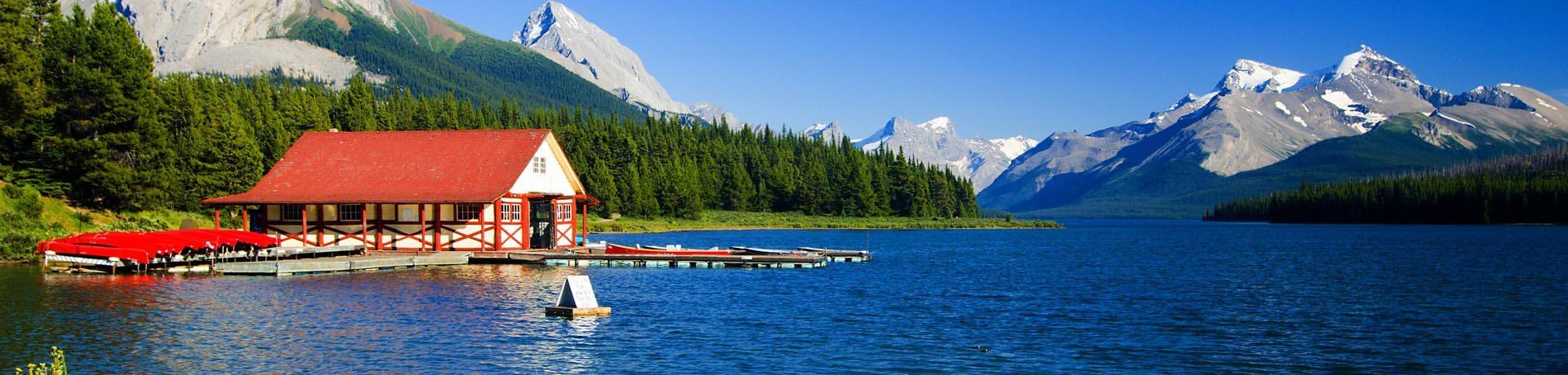 Maligne Lake and Maligne Mountain, Jasper, Canadian Rockies