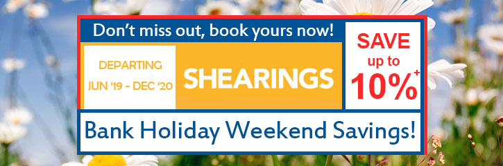 Save up to 10% on selected 2019 - 2020 Shearings holidays