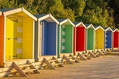 Beach huts at Colwell bay, Isle of Wight