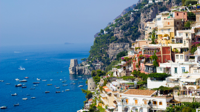 Mediterranean cruises; cliff-side town