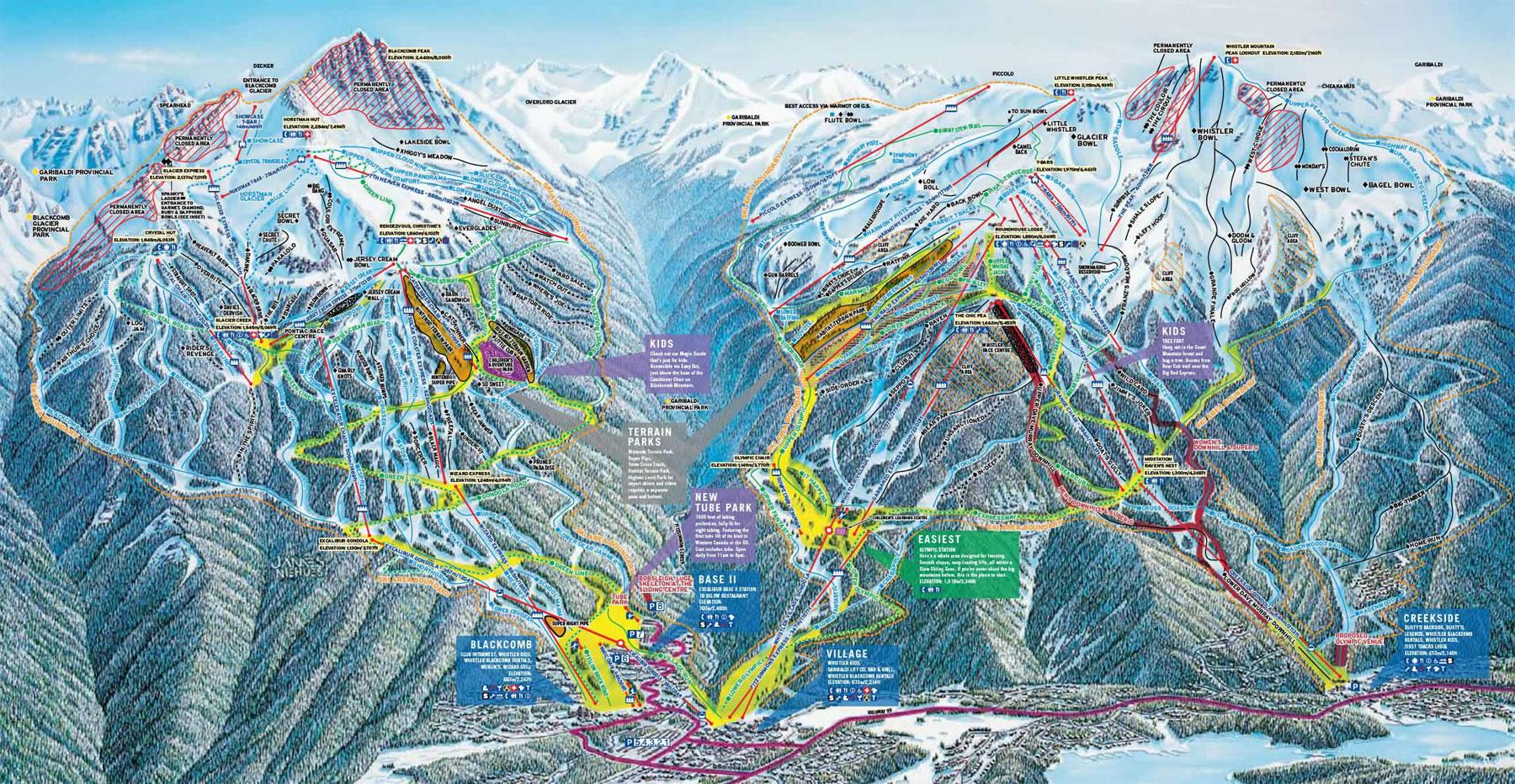 Whistler piste map