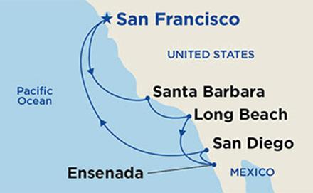 California Coastal  itinerary map