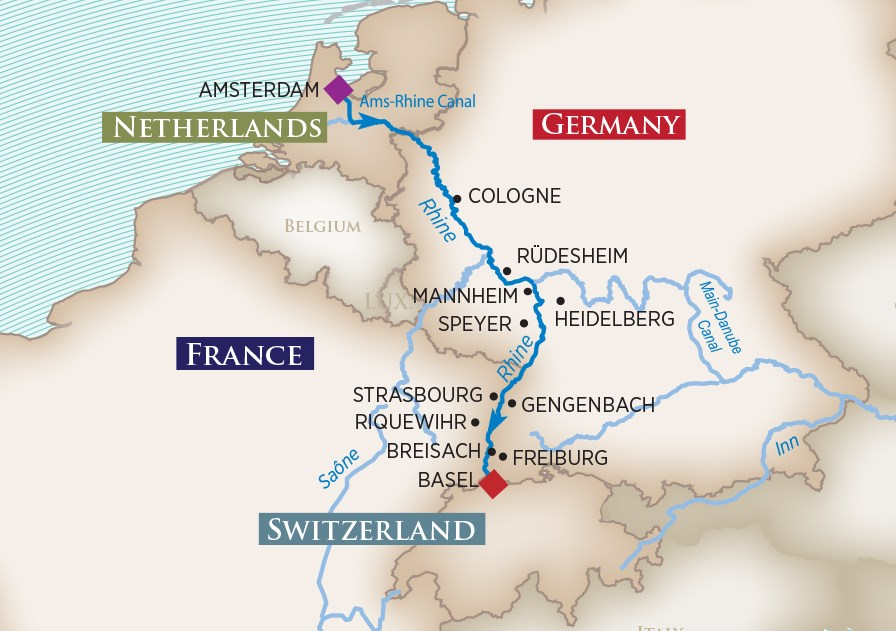 Christmas Markets on the Rhine Map