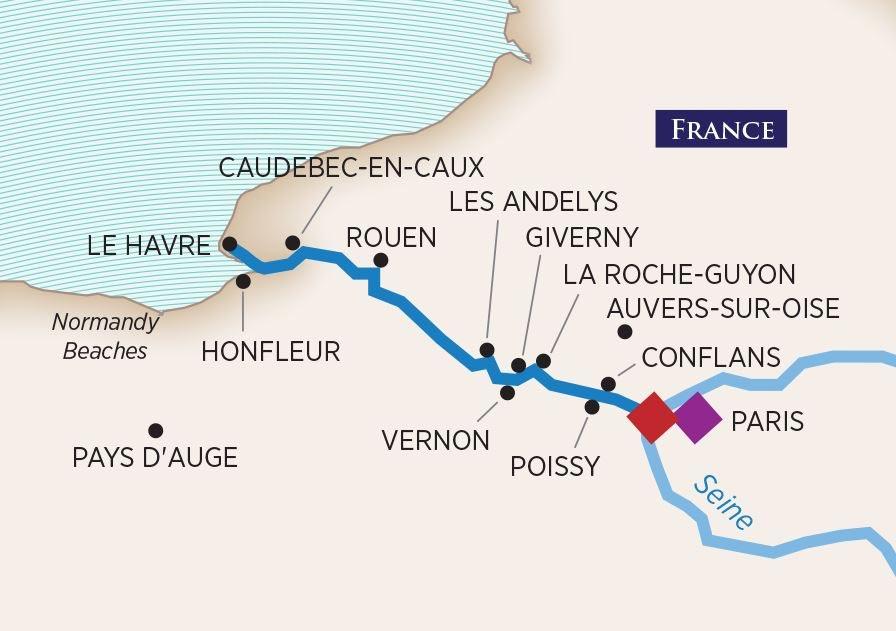 Paris & Normandy Map
