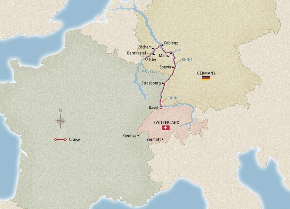 viking Rhine & Moselle map