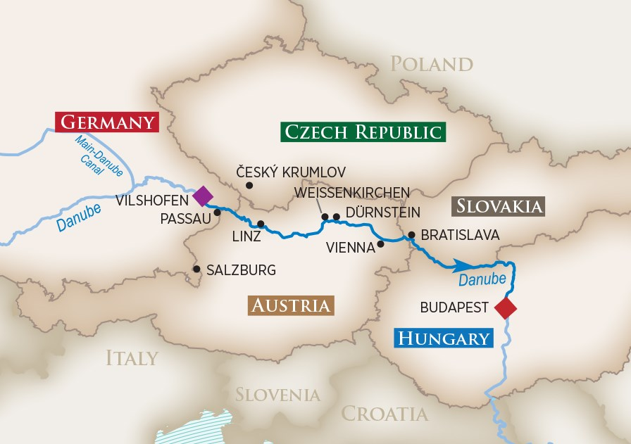 Romantic Danube Map