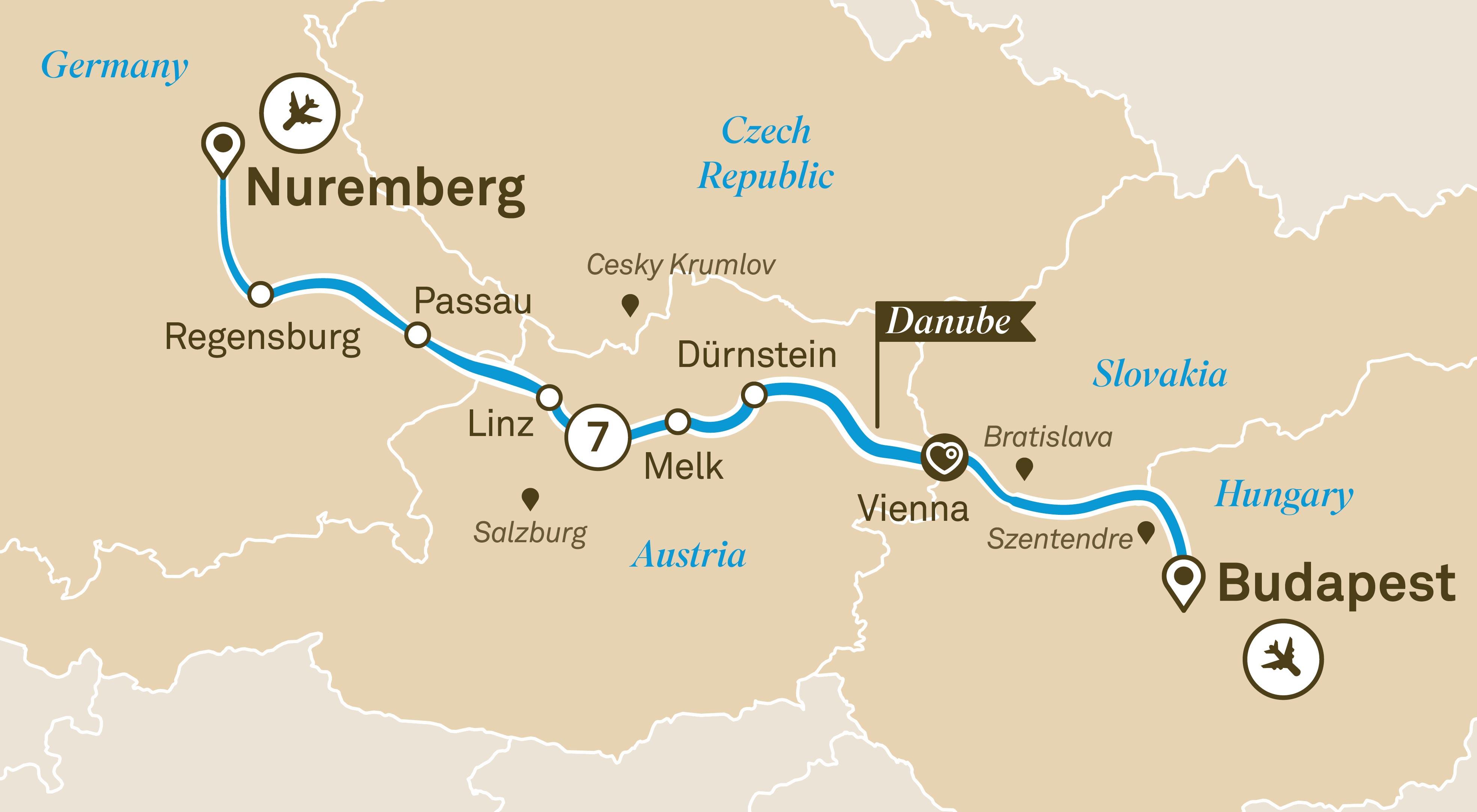 Scenic Gems of the Danube Map
