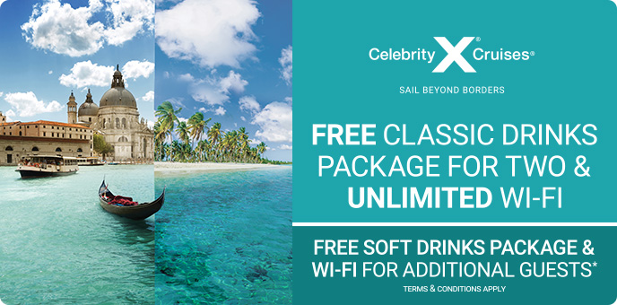Celebrity Cruises - Free Drinks + Unlimited Wi-Fi