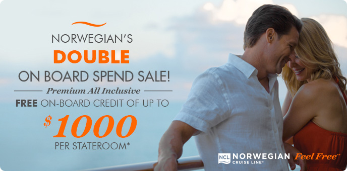 Norwegian Cruise Line - up to $1,000 Onboard Credit + £50 deposit