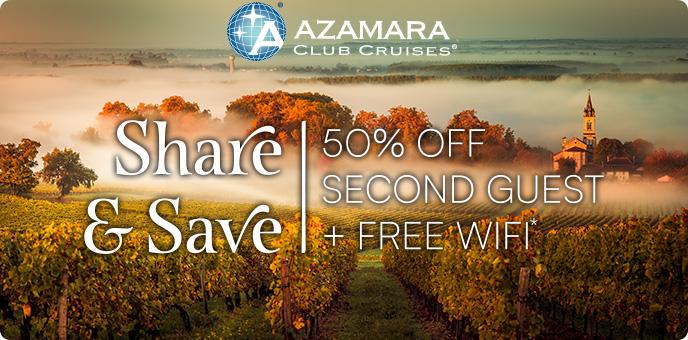 Azamara Club Cruises - 50% second guest