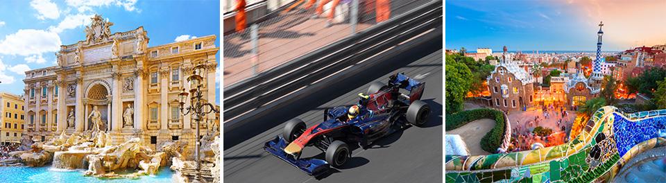 Rome, Monaco F1 & Barcelona