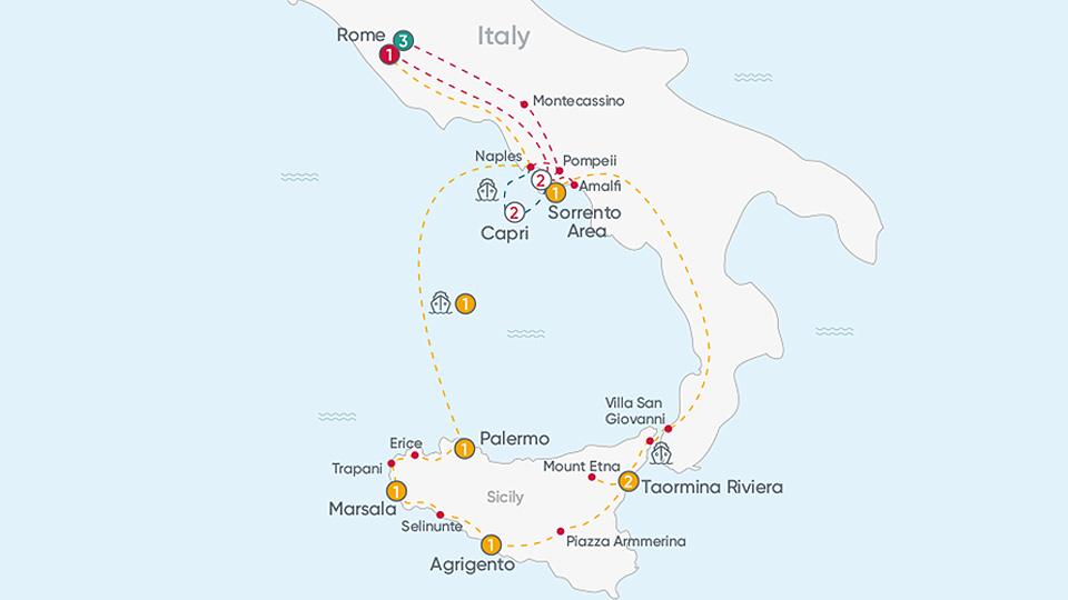 Rome, Capri & Sorrento Map