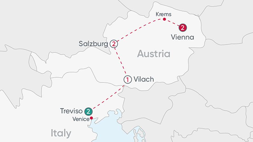 Veneto to Vienna Explorer Map