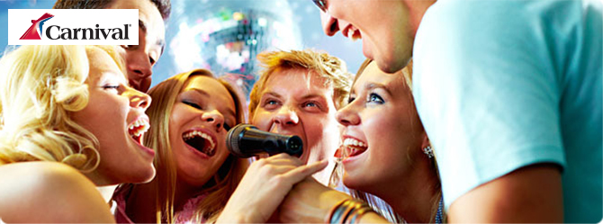 A group of friends singing into a microphone