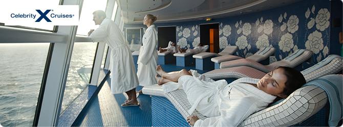 People relaxing in a spa room with a sea view
