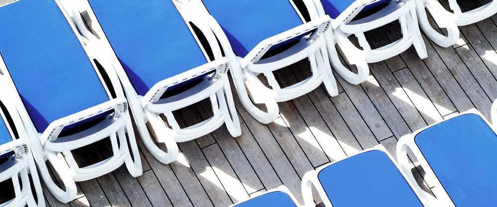 Sunbeds on cruise ships