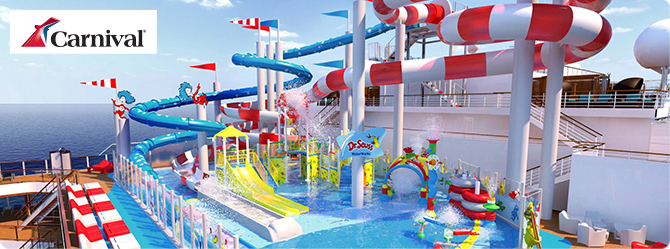 colourfully decorated pool slide by the ship's deck