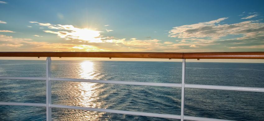 Sunset view of the ocean from a Cruise liner