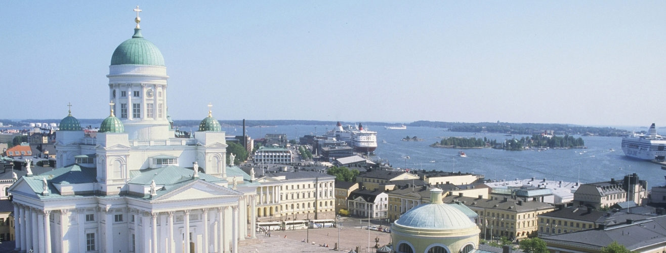 Helsinki Cathedral and Senate Square with harbour in the background