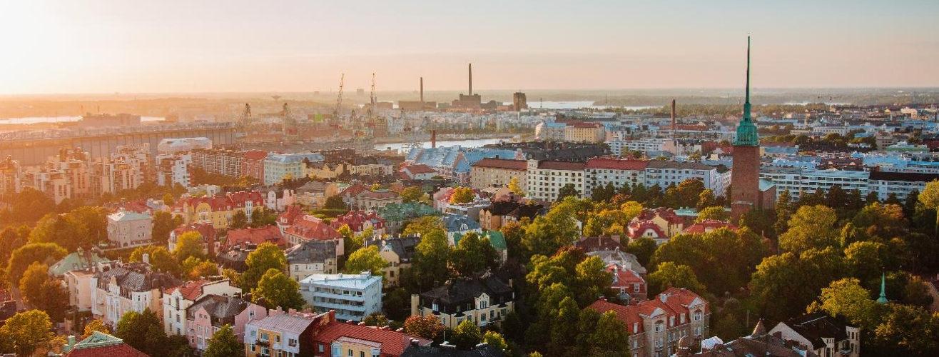 Aerial view of Helsinki city