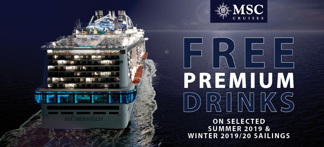 MSC Cruises with FREE Premium Drinks