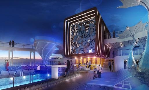 The Resort Deck at night on Celebrity Apex