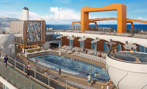 Celebrity Edge pool and jacuzzis