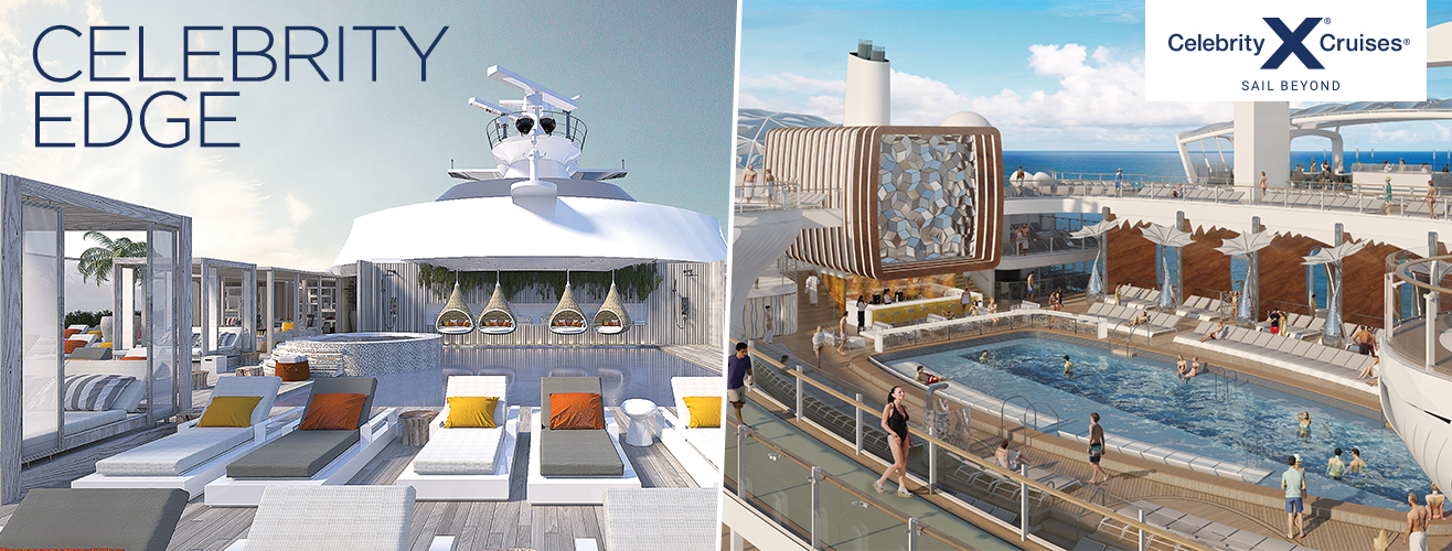 Ship deck with sunbathing chairs and a swimming pool with people in it and people walking past
