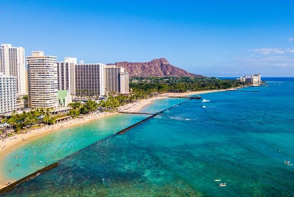 Honolulu with Hawaiian Islands