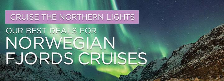 Cruise ships sailing between green fjords