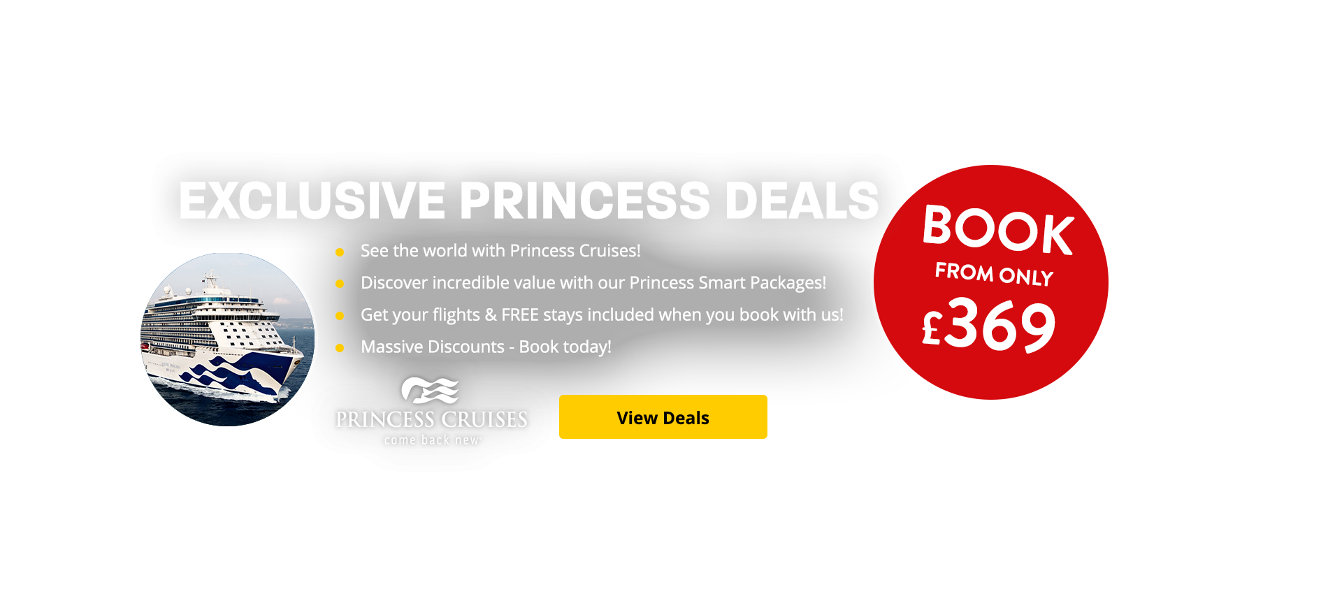 See the world with Princess Cruises! Discover incredible value with our Princess Smart Packages! Get your flights & FREE stays included when you book with us! Massive Discounts - Book today!