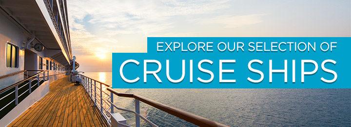 cruise ship at sea during sunset
