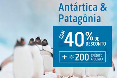 INÉDITO: 40% de desconto para a Patagônia + crédito em cruzeiro para a família nas férias!