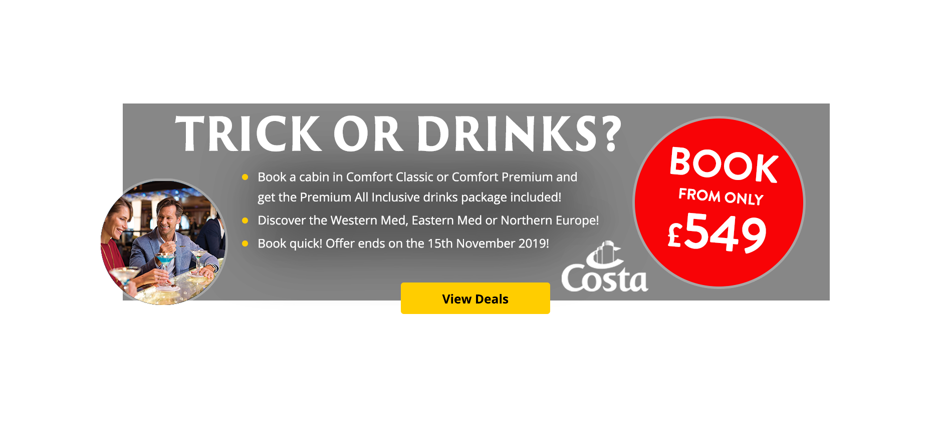 Book a cabin in Comfort Classic or Comfort Premium and get the Premium All Inclusive drinks package included!  This promotion is valid on West Mediterranean, East Mediterranean & North European itineraries from mid April to mid December 2020 (Easter, Xmas and NY excluded).  Book quick! Offer ends on the 15th November 2019!