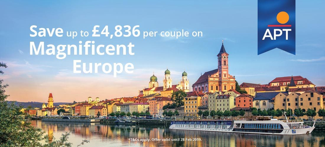 APT River Cruising. Save up to £4,836 per couple on Magnificent Europe.