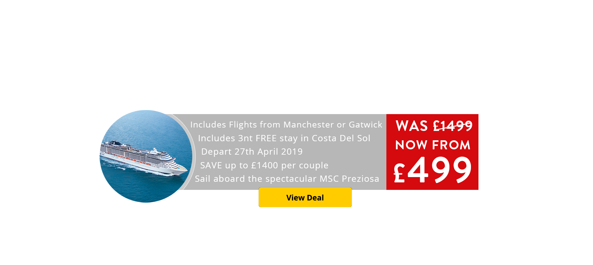Don't miss our Deal of the Week - 12 Night Hamburg to Malaga incuding free 3 night Costa Del Sol stay from only £499