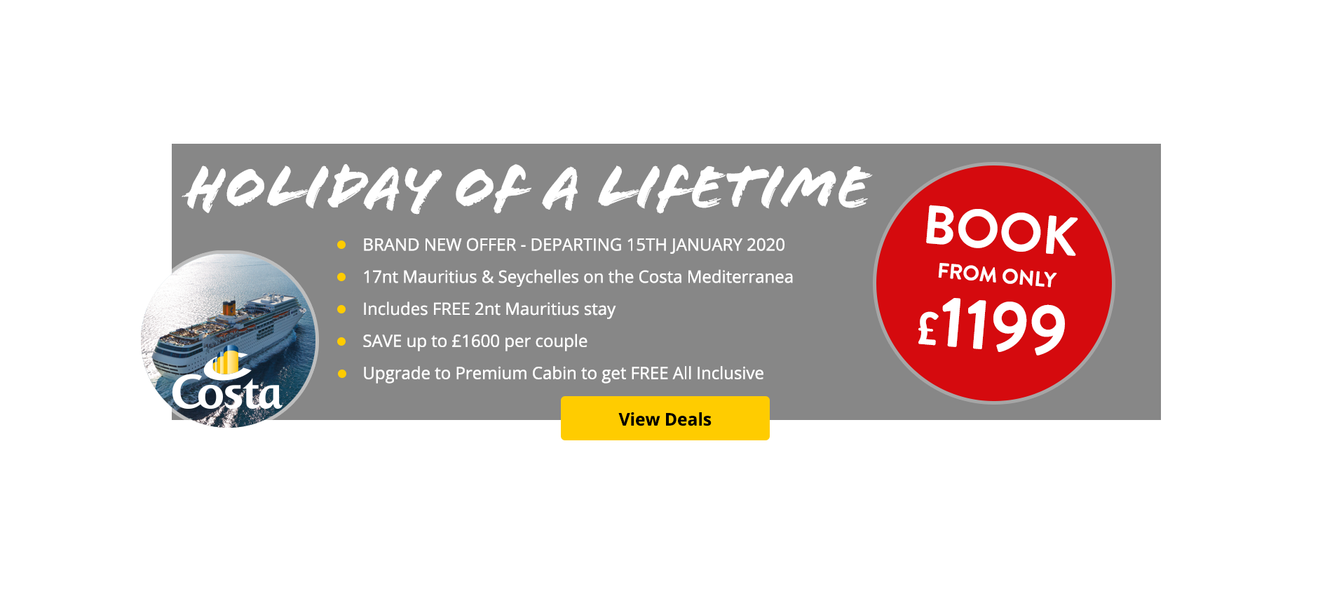 Check out this amazing holiday of a lifetime from only £1199. Mauritius & the Seychelles aboard the Costa Mediterranea. Flights included.