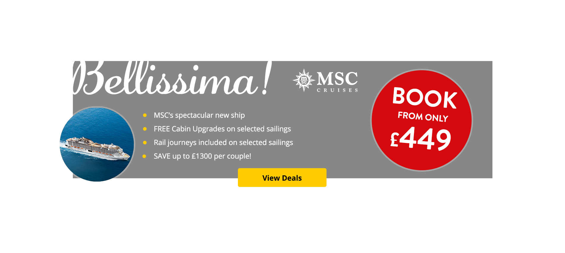 The best deals on the brand new MSC Bellissima in the UK
