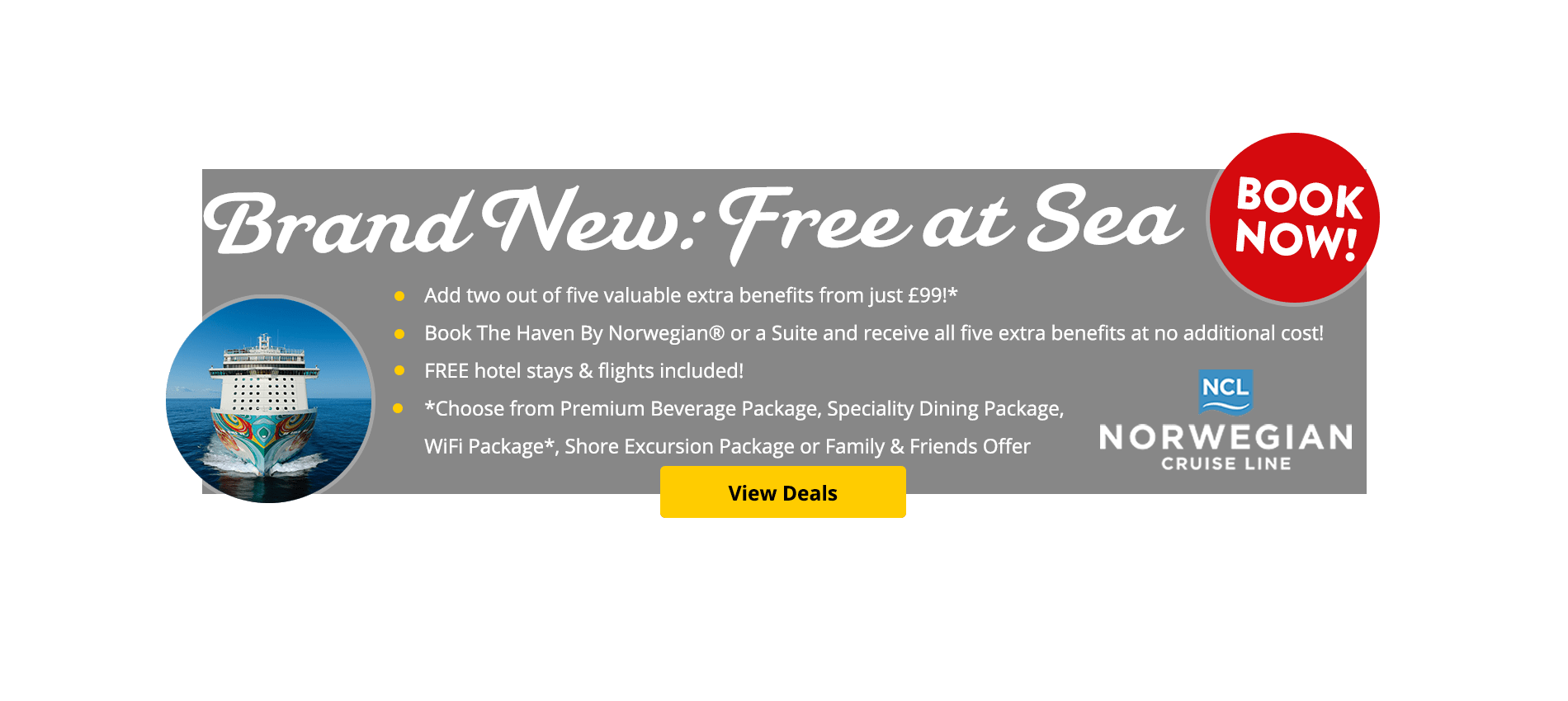 Norwegian Cruise Line have reimagined the concept of freedom, flexibility and choice with the launch of Free At Sea – their superb new premium cruise product. Discover what it really means to Feel Free at Sea…