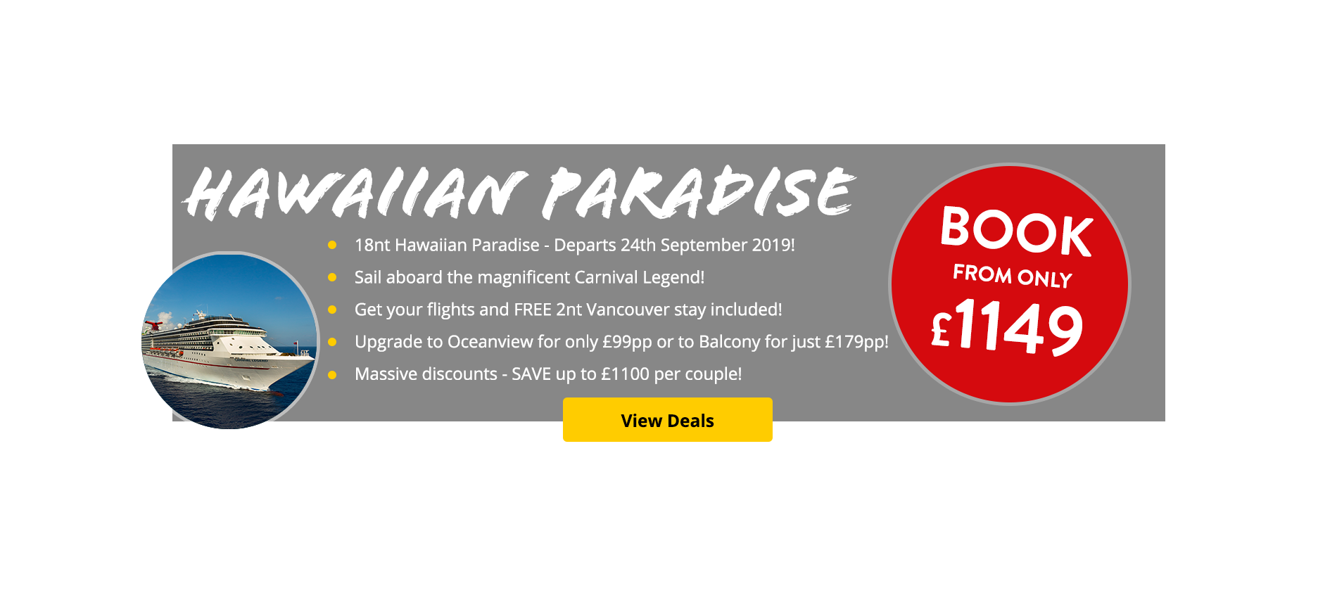 18nt Hawaiian Paradise - Departs 24th September 2019! Get your flights and FREE 2nt Vancouver stay included!