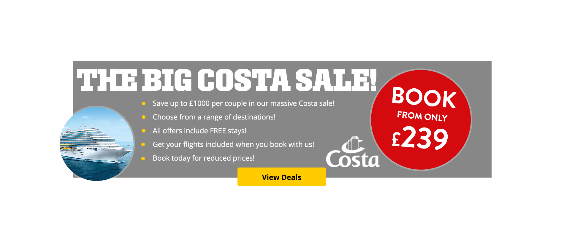 Save up to £1000 per couple in our massive Costa sale! Book today for reduced prices!