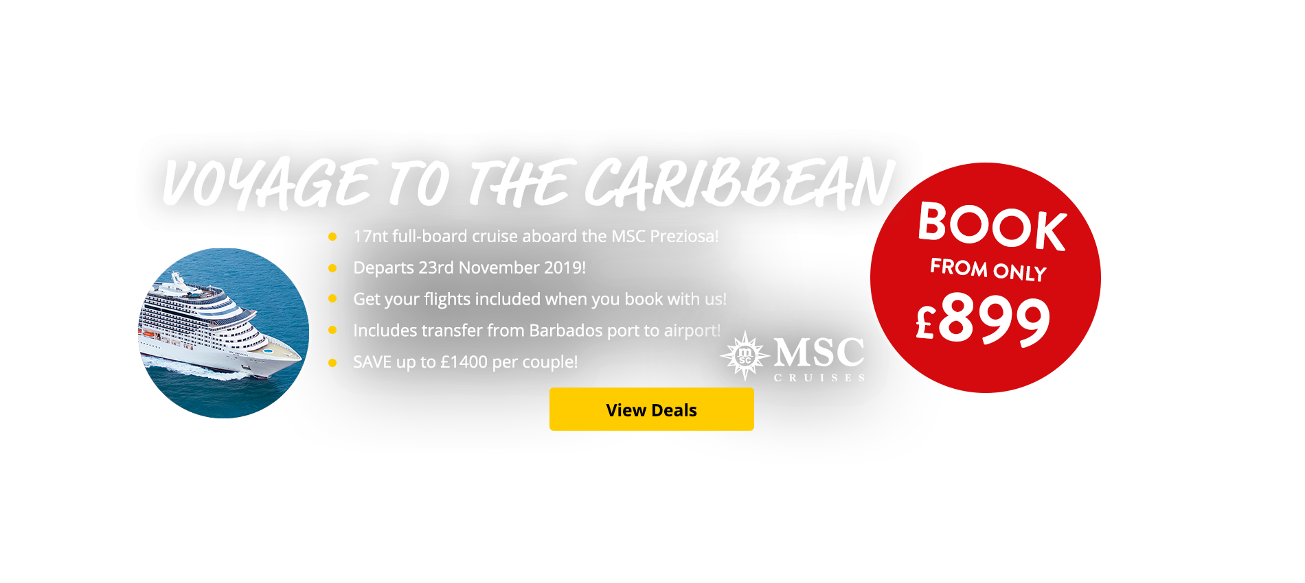 17nt full-board cruise aboard the MSC Preziosa! Departs 23rd November 2019! SAVE up to £1400 per couple!