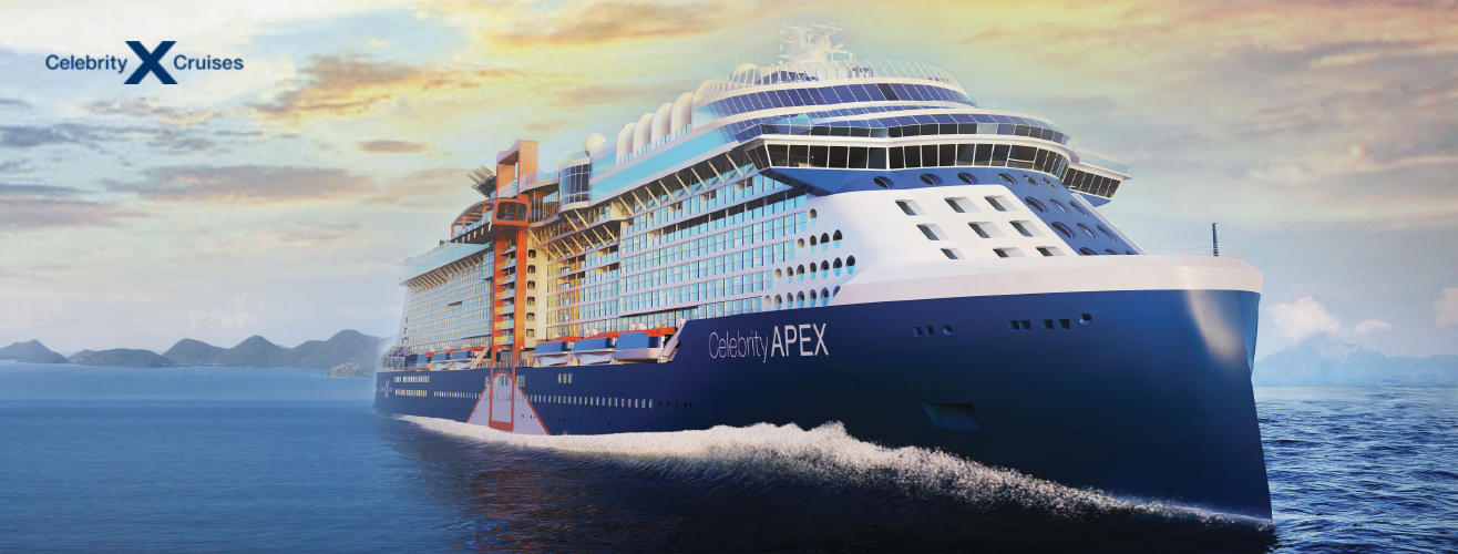 exterior view of Celebrity Apex cruise ship from Celebrity Cruises