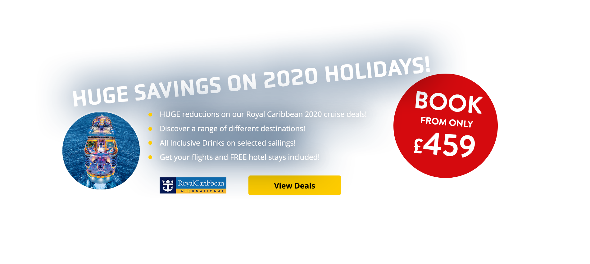 HUGE reductions on our Royal Caribbean 2020 cruise deals! Discover a range of different destinations! All Inclusive Drinks on selected sailings! Get your flights and FREE hotel stays included!